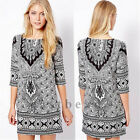 2014 TOP Fashion Vintage Women Loose Dress Casual Oversized Printed Mini Dress