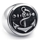 Men's 316L Stainless Steel Titanium Solid Anchor Rock N' Roll Cast Ring M072391