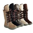Women Retro Round Toe Leather Color Contrast Lace Up Causal Snow Ankle Boots