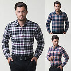Chic 100% Cotton Men's Long Sleeve Cotton Grid Business Career Shirt Tops Blouse