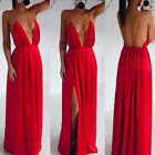 HOT LADIES SUMMER SEXY V NECK BACKLESS MAXI LONG DRESS PLUS SIZE 6 8 10 12 14 16