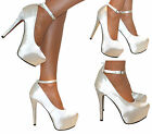 WOMENS IVORY GLITTER ANKLE STRAP PLATFORM STILETTO HIGH HEEL COURT SHOES BRIDAL