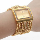 LADY'S STUNNING DURABLE GOLD FAUX DIAMOND CASE ALLOY BAND QUARTZ BRACELET WATCH