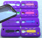 Samsung Galaxy S4 Phone Cover Case PRO ARMOR PURPLE w / BUILT IN SCREEN PROTECTOR