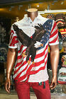 Men's American Flag EAGLE SOAR Natural Polo Shirt