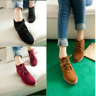 Fashion Women's Ankle Boots Vintage Lace Up Flat Heel Flock Round Toe Shoes New
