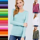 Long Sleeve Crew Neck Top T-shirt Black White Coral Green Gray Blue Pink #8700