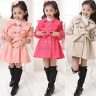 New Girls Kid Lovely Slim Double-breasted Jacket Trench Coat Outwear 35DI