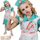 Zombie Nurse Girls Halloween Fancy Dress Childs Kids Horror Costume Party Outfit