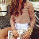 2015 New Womens Casual Long Sleeve Shirt Lace Crochet Emboriey Loose Tops Blouse