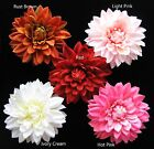 "5"" DAHLIA silk flower heads Light HOT pink BROWN ivory cream artificial DIY clip"