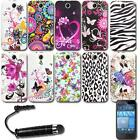 Printed Gel Case Silicone Cover + Screen Protector + Stylus For HTC Desire 310