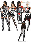 Sexy Skeleton + Tights Ladies Halloween Fancy Dress Costume Womens Outfit 6 -18