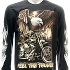 rc16 M L XL XXL XXXL Rock Eagle Long Sleeve LS T-shirt Tattoo Skull Biker Rider