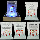 ANGEL GLASS CRYSTAL ORNAMENTS MESSAGE BEAR GIFT SET POEM POETIC WRITING PRESENT