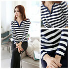 New Fashion Women Casual T-Shirt Stripe Long Sleeve V Neck Slim Tops Blouse