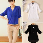 1PC Women Spring Summer V-Neck Chiffon Long Sleeve Casual Shirt Blouse TXLA