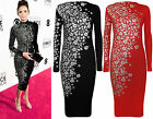 New Womens Celeb Floral Silver Glitter Print Ladies Long Sleeve Midi Dress 8-14
