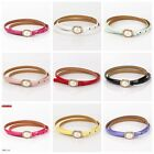 Fashion Womens Multicolor Pearl Waistband Leather Thin Skinny Buckle Waist Belts