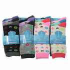 L007 LADIES GIRLS 12prs FUNKY ALL OVER DESIGNER PATTERN DESIGN SOCKS CUTE 4-7