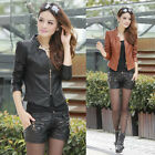 New Women's Cool Short PU Biker Jacket Slim Faux Leather Zip Crop Coat Top