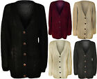 New Womens Plus Size Button Long Sleeve Ladies Cable Knitted Cardigan 20 - 26