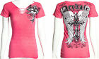 Archaic AFFLICTION Womens T-Shirt LUSTROUS Skulls Tattoo Biker Sinful S-XL $40 b