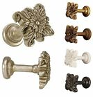 Menagerie Pair Floral Square Drapery Hardware Curtain Tiebacks 5 Finishes