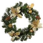 Cream & Gold Decorated Wreath Christmas Decoration - Size 45cm