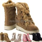 Women Winter Warm High Snow Ankle Boots Faux Leather Scrub Fur Shoes
