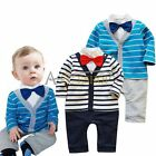 Baby Boy Gentleman Bow Tie Romper Suit Wedding Bodaysuit Party Xmas Gift Outfit