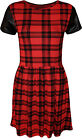 New Womens Tartan Check Print Short Wet Look Sleeve Ladies Skater Dress 8 - 14