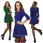 Chic Womens Solid Half Sleeve Back Zipper Pleated Waisted Slim Mini Short Dress