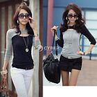 Women's Fashion Long Sleeve Round Neck Hollow Out Front Top T-Shirt Tees DZ88