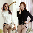 Women Turn Down Collar OL Shirt Floral Lace Long Sleeves Button Blouse Slim Tops