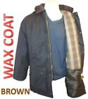 MENS JACKETS COAT WAX COTTON BROWN COUNTRY PADDED WAXED