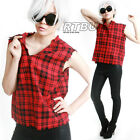 RTBU Punk Prisoner Jail Grunge Muscle Tank Top Fray Red Tartan Flannel Plaid
