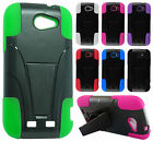 For Boost Mobile ZTE Warp Sync N9515 Advanced Layer HYBRID KICKSTAND Case Cover