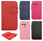 For Motorola Moto G Premium Leather Wallet Case Pouch Checkered Flip Cover