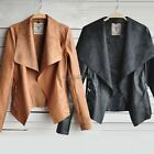 Women Ladies Casual Synthetic Leather Crop Warm Coat Jacket Parka Trench