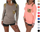 Ladies Gold Sequin Pocket Long Sleeve Cotton Top Jumper One Size UK 8/10/12  565