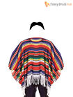 Mexican Poncho Fancy Dress Costume Sombrero Party Bandit Adult Western Outfit