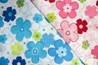 DAISY FLOWER & LIME - PRINTED POLY COTTON FABRIC - WIDTH 114 CM