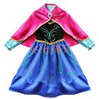Halloween Frozen Princess Queen Anna Dress Up Gown Costume Girls Fancy Cosplay