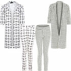 Womens Ladies Grid Square Checked Print Long Duster Jacket Coat Trouser Pants 8-