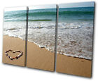 Sunset Seascape Beach Heart TREBLE CANVAS WALL ART Picture Print VA