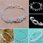 2014 New Silver Bangle Solid Silver Lady Bracelet Silver Beads Chain Fashion