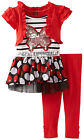 Young Hearts Infant Baby Girls 2 Piece Red Polka Dot Tutu Top Leggings Set