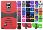 Samsung Galaxy Note 4 HYBRID Hard Gel Rubber KICKSTAND Case + Screen Protector