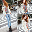 Womens Girl Peacock Printed Casual Long Sleeve Round Neck T-Shirt Tops Blouse LS